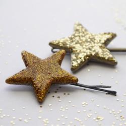 DIY Glitterized Star Hair Pins