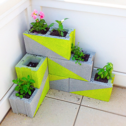 DIY Neon Concrete Block Planter