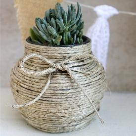 Natural Hemp-Wrapped Jar
