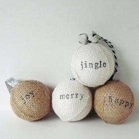 Stamped Burlap Ornaments