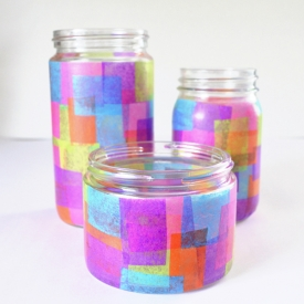 Faux Stained Glass Recycled Jars