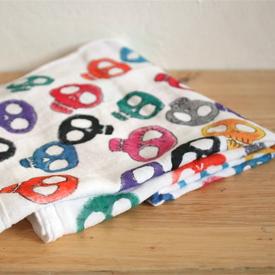 Sugar Skull Potato Stamp Towel