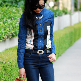 DIY Scarf Denim Shirt