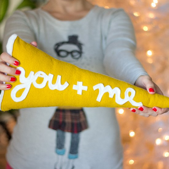 DIY You + Me Pennant Pillow