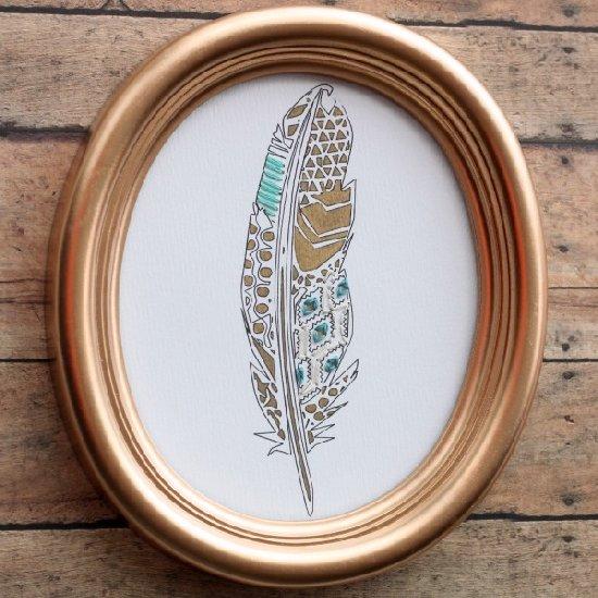 DIY Geometric Feather Art