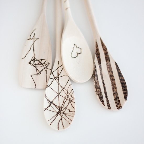 Kid Art Etched Wooden Spoons
