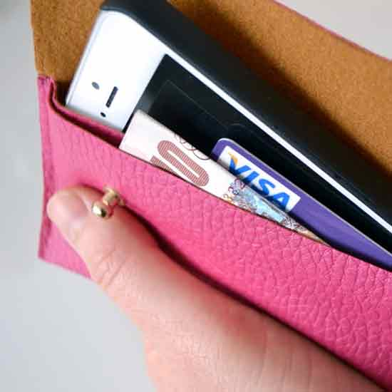 Faux Leather Phone Case With Pocket