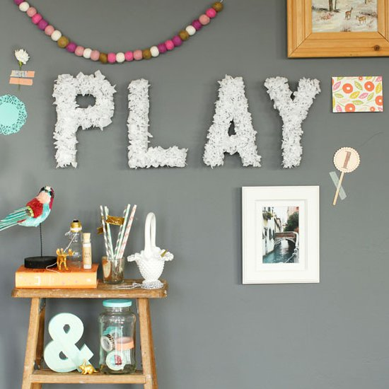 DIY Tissue Paper Wall Letters