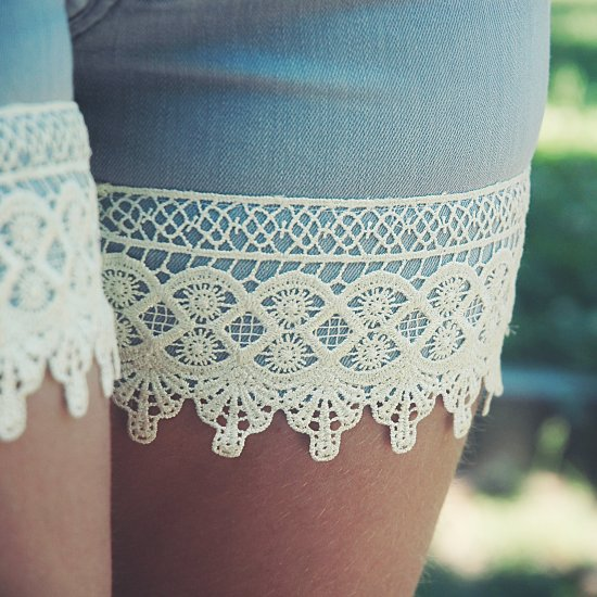 Boho Lace Shorts from Old Trousers