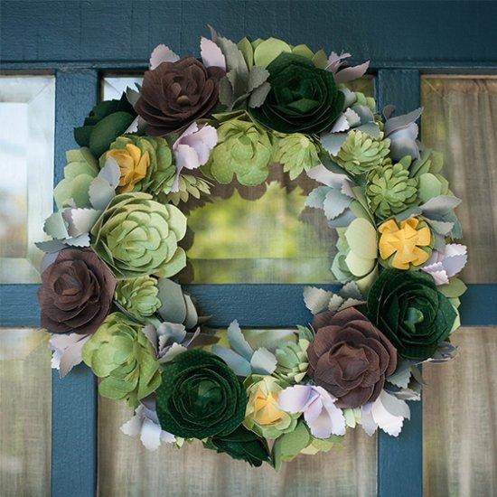 DIY Paper Succulent Wreath
