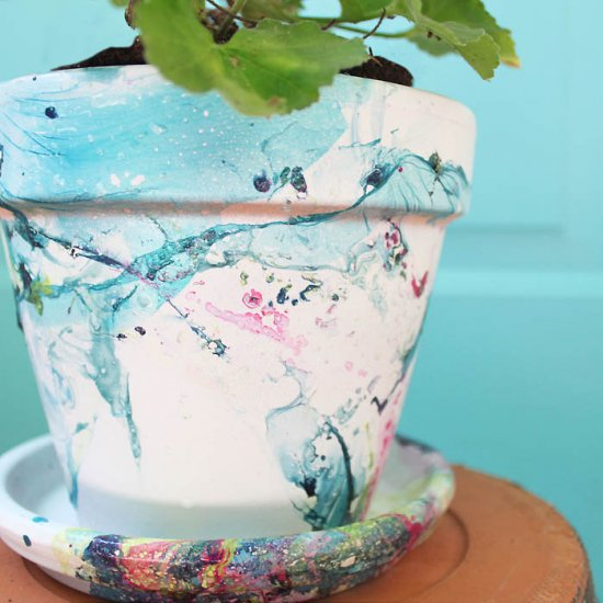 DIY Marbled Flower Pot