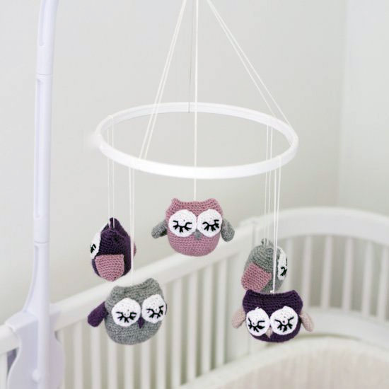 Baby Crib Mobile with Crochet Owls