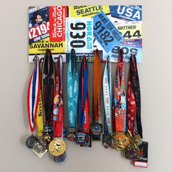 Race Medal And Bib Display Bib Marathon Medal Display