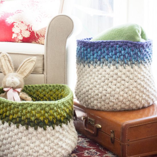 Colorblock Crochet Basket