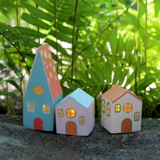 mini paper house luminaries