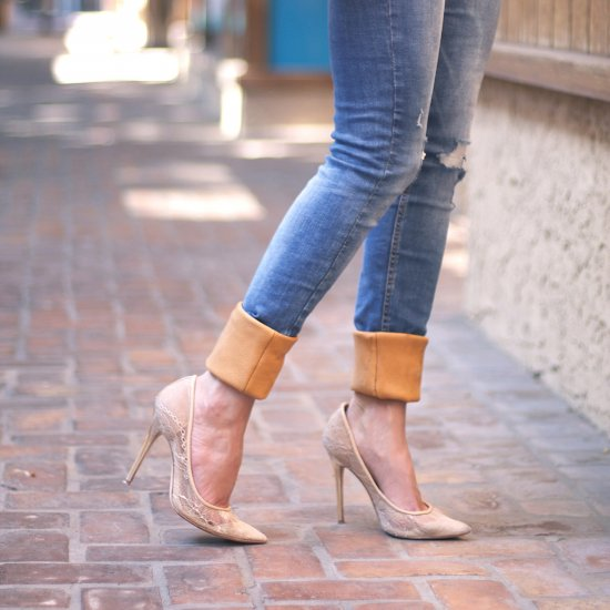 Add Leather Cuffs To Jeans