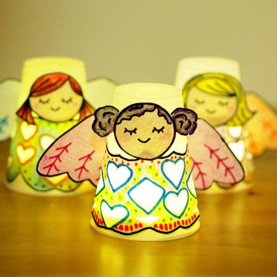 Paper Cup Angel Luminaries