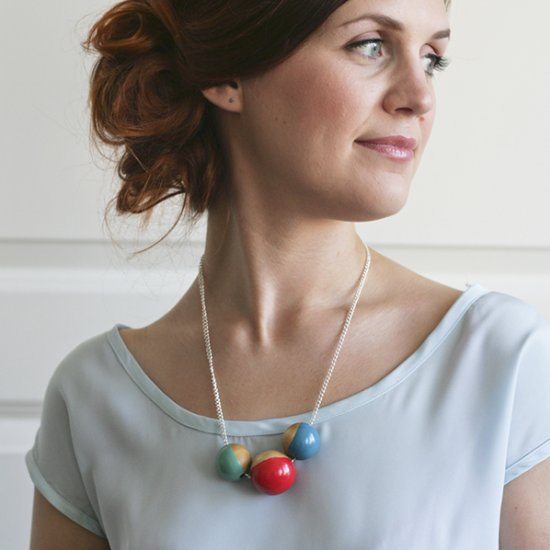 DIY painted wooden beads necklace