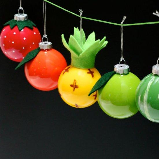 Retro Fruit Christmas Baubles