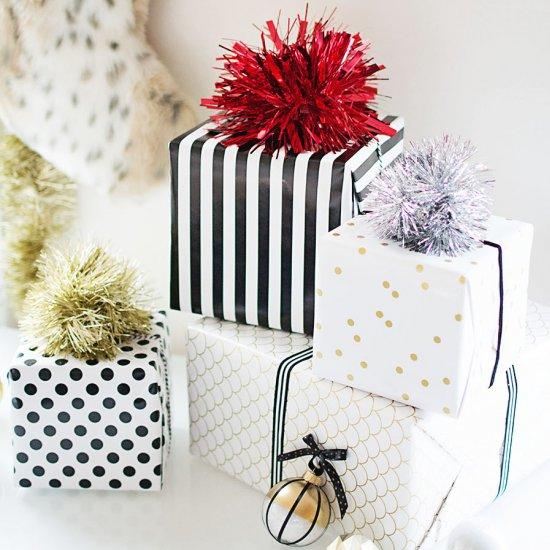Tinsel Pom Pom Gift Toppers