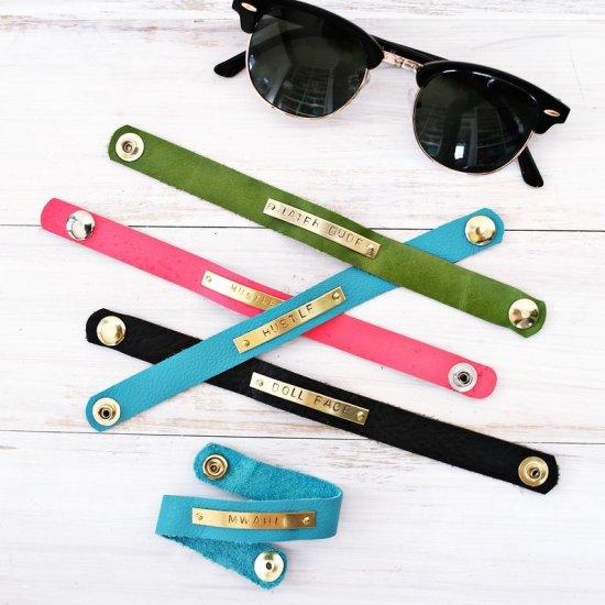 Stamped Bar Leather Bracelets