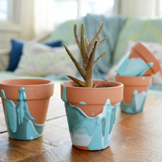 Ombre Drip Flower Pots