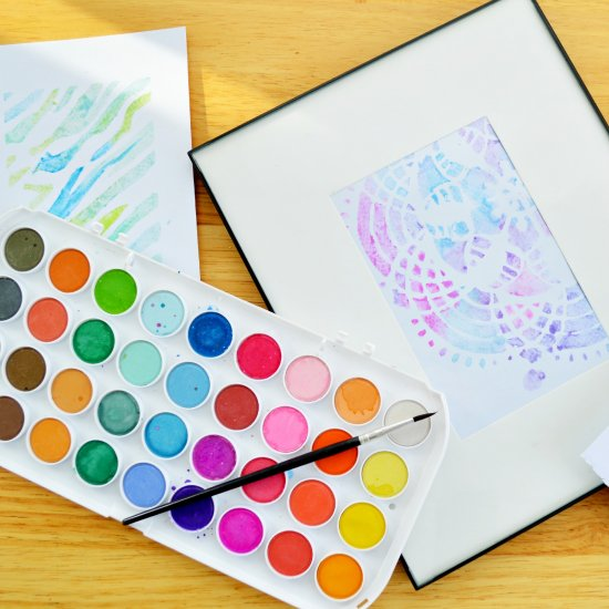 Stenciled Watercolors