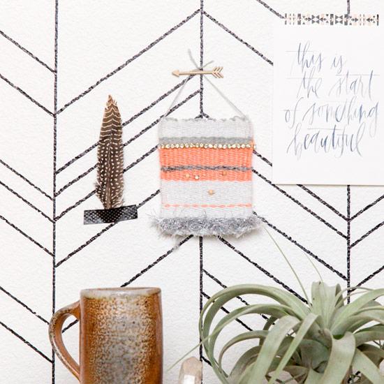 DIY Rhinestone Woven Wall Hanging
