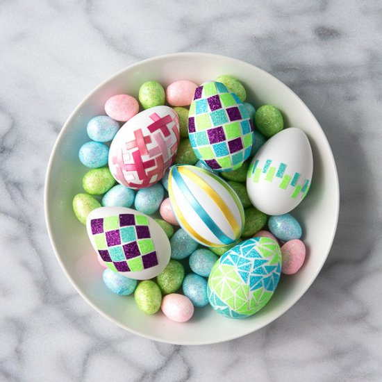 Glitter and Ribbon Tape Easter Eggs