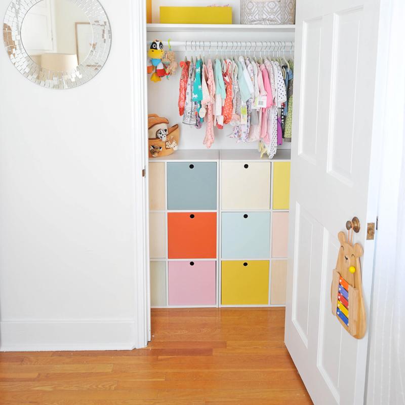 DIY Colorful Cube Closet Storage