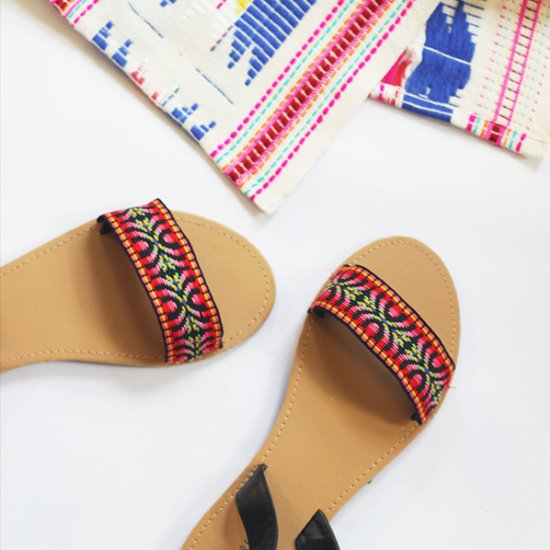 DIY Easy Embroidered Sandals