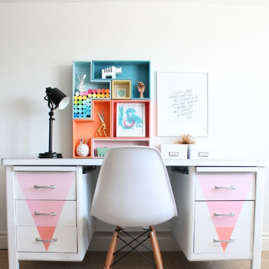 Desk Makeover with Chalky Paint