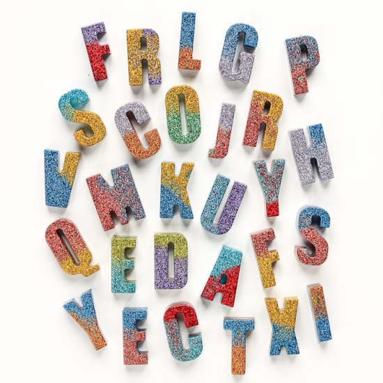 Color Blocked Glitter Letters
