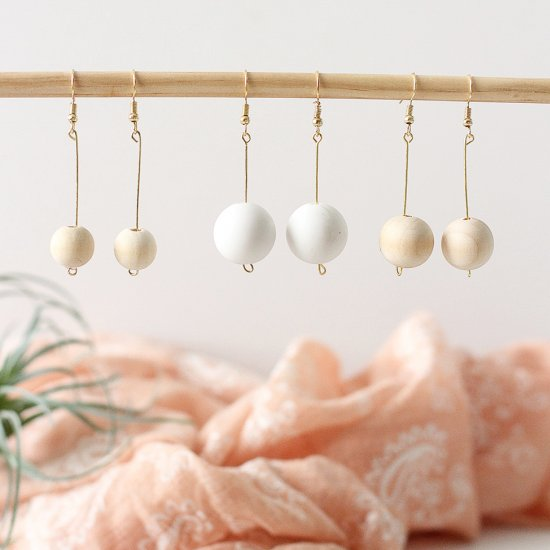 Minimal wood bead earrings